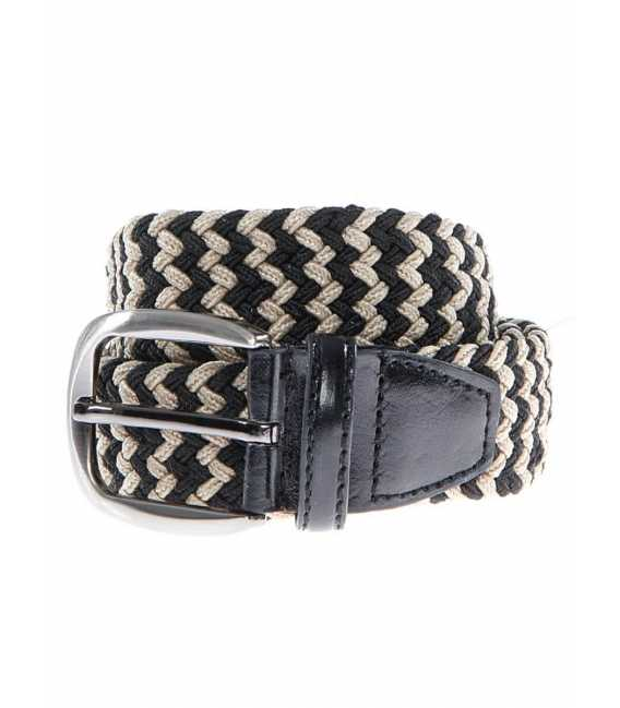 Braided belt elastic multicolored beige and black