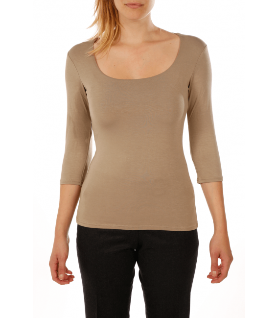 T-shirt woman square neck and three quarter sleeves in viscose stretch