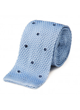 Tie fine mesh knit of pure silk polka dot