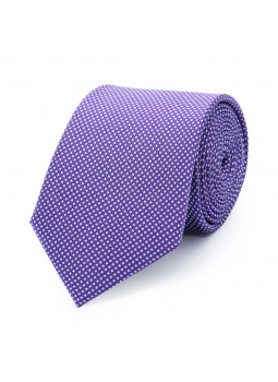 Tie in pure silk with motifs on a white background