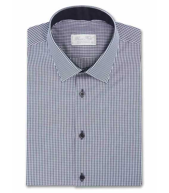 Shirt man slim fit gingham and contrast kingdom