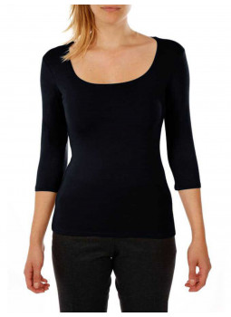 T-shirt col carré manches 3/4 en viscose stretch