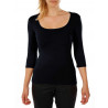 T-shirt square neck 3/4 sleeve in viscose stretch