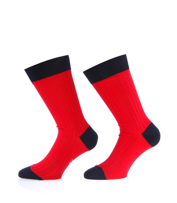 Mens socks over of Scotland 100% cotton red and navy