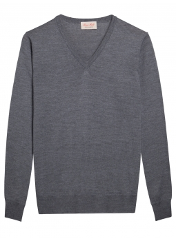 Mens sweater V-neck 100% Merino wool extra fine