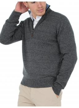 eaf2d1c68bcf Mens sweater zip-neck contrasting wool and cashmere - Gris anthracite  Ciel