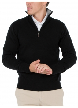 Mens sweater zip-neck contrasting wool and cashmere