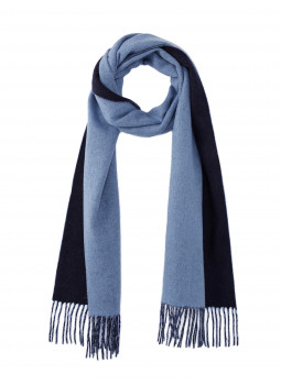 Scarf reversible two-tone pure cashmere woven