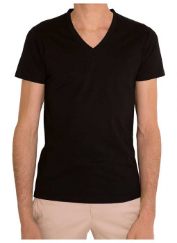 T-shirt man V-neck jersey 100% cotton