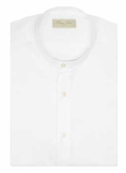 Shirt man slim fit with collar Mao pure cotton double twisted