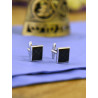 Cufflinks square criss-cross pattern