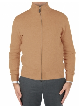 Cardigan zip man in a fine wool and cashmere