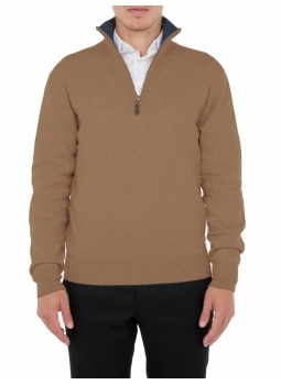 Polo shirt mens zipped collar, contrasting wool and cashmere