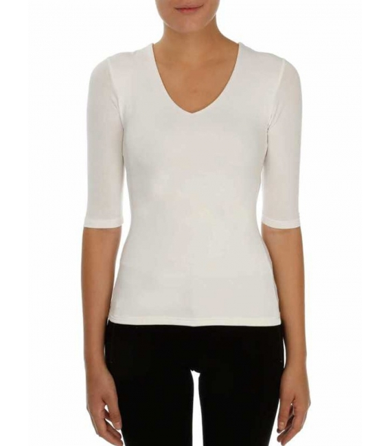 T-shirt V-neck 3/4 sleeve viscose stretch