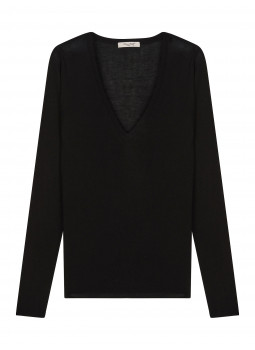 Sweater women V-neck knit bamboo cashmere